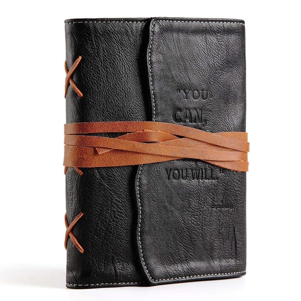 black leather journal for men-vegan leather writing diary with lined pages