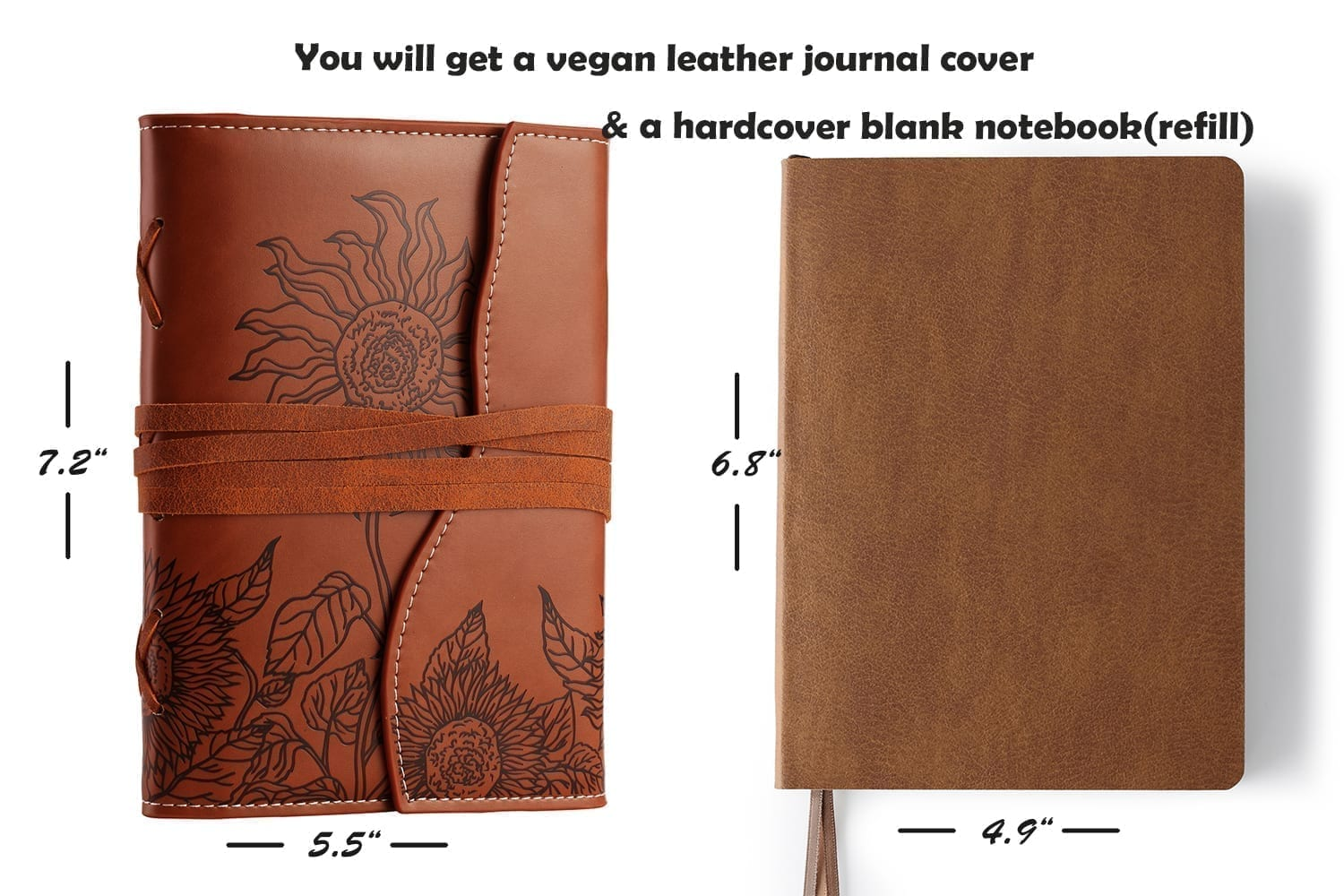 leather journal with unlined paper-bound notebook embossed with sunflower