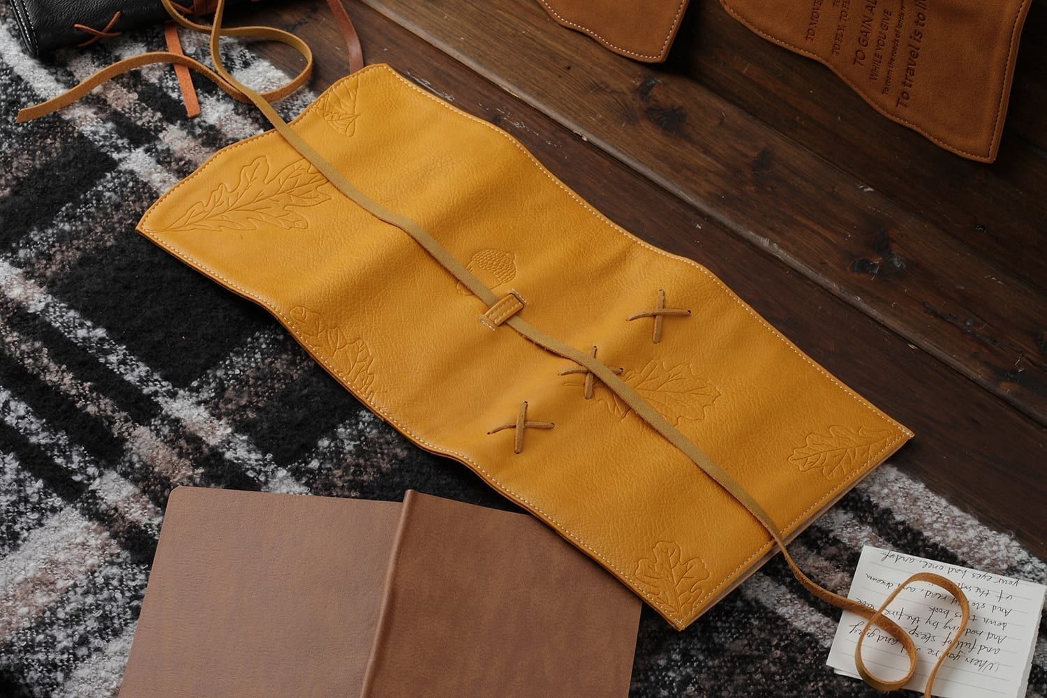 soft yellow leather journal cover embossed with oak leaves