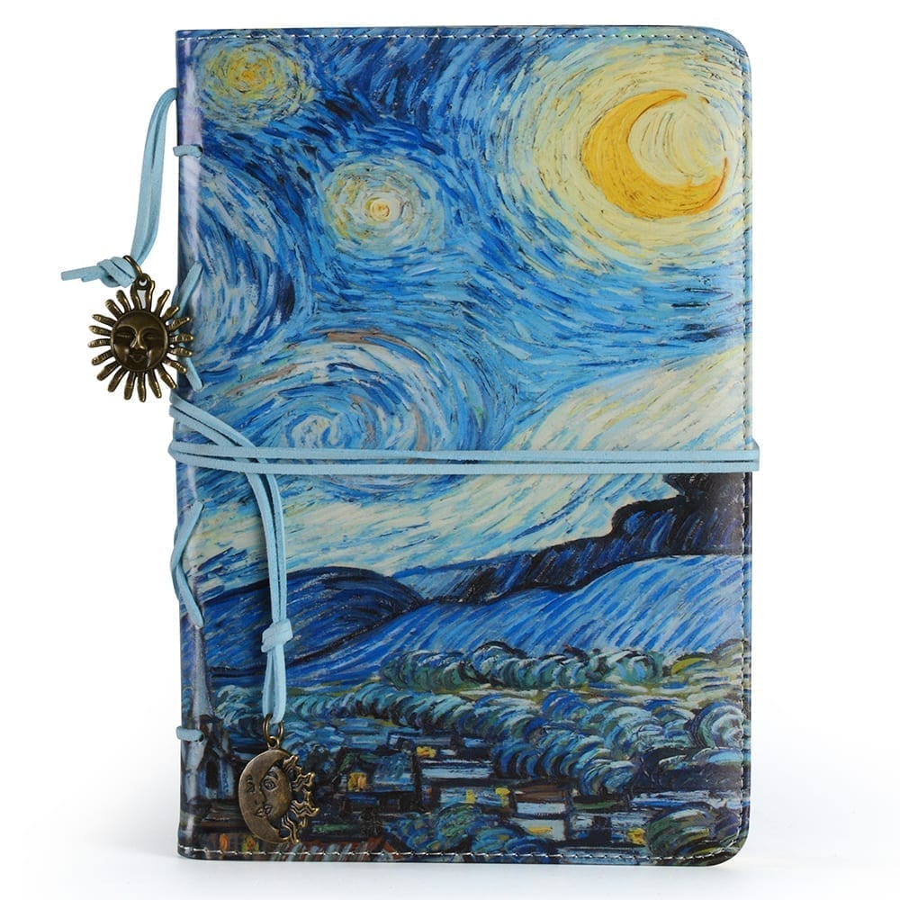 """""""The Starry Night"""", Slim A5 Vegan Leather Bound Journal 