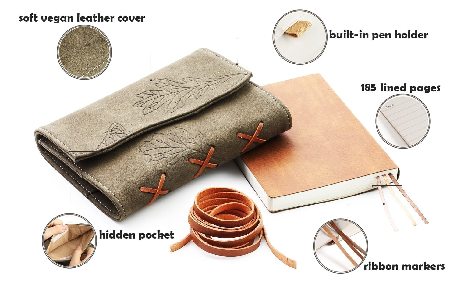 unique gifts for vegetarians-vegan leather writing journal with oak leaves engraved