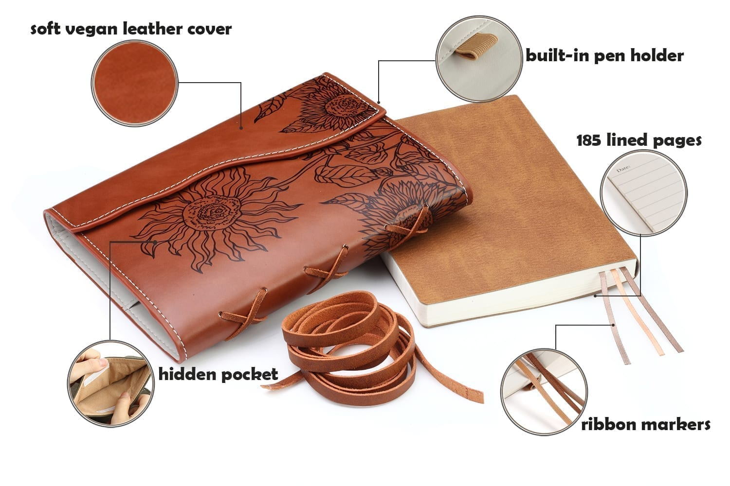 unique gifts for women-vegan leather journal lined pages engraved with sunflower