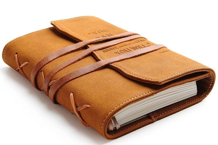 valery embossed personal diary with vegan leather cover and lined pages