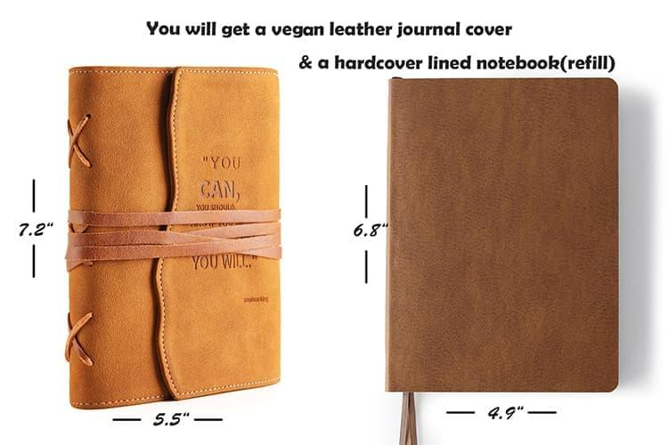 valery faux leather journal with soft brown cover and refillable notebook
