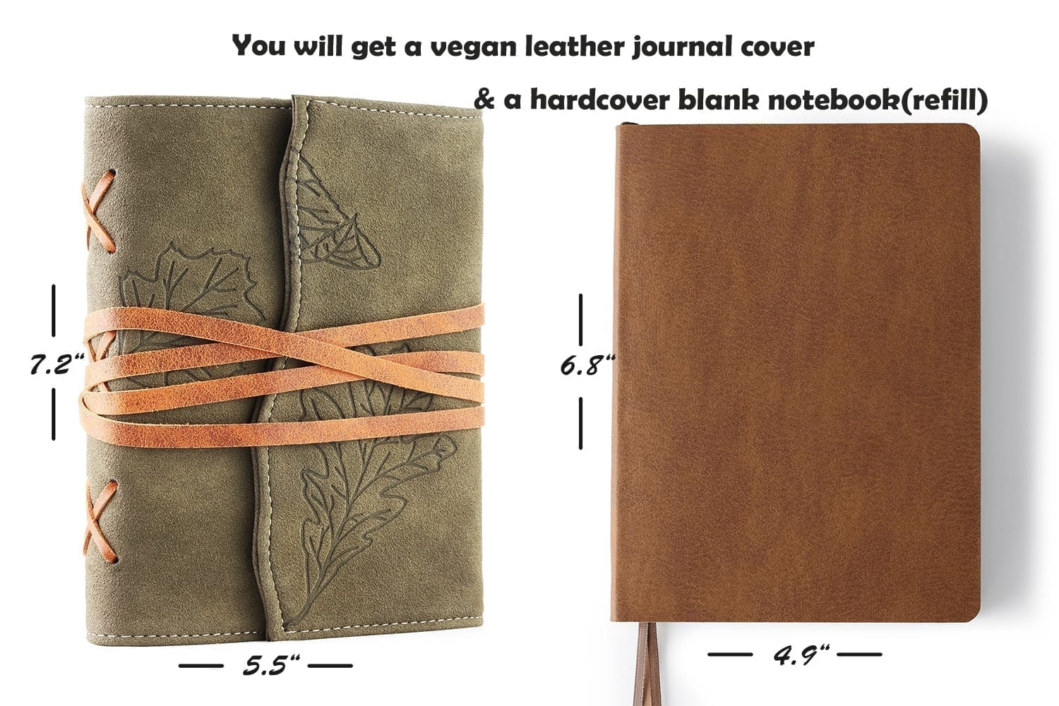 vintage leather journal with soft faux leather cover-green oak leaves embossed