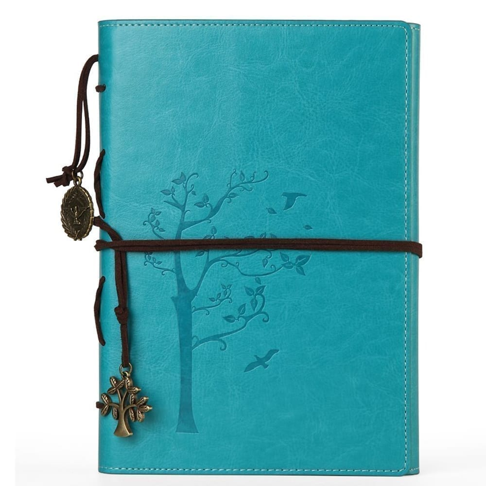 Slim A5 Vegan Leather Tree of Life Journal | Refillable Leather Notebook