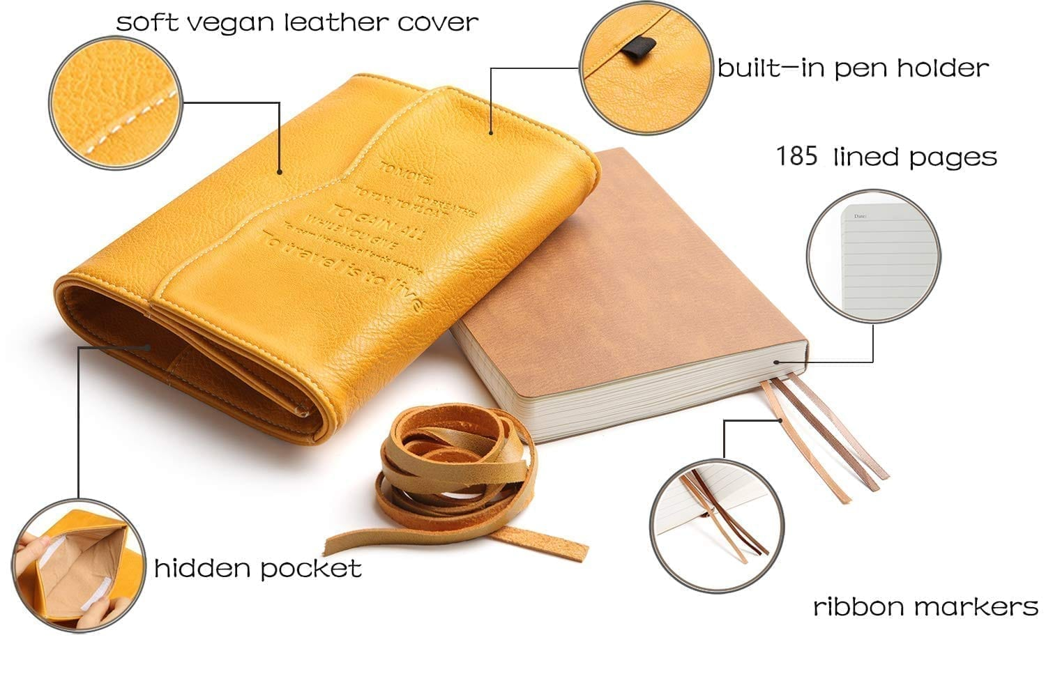 yellow leather journal diary for girls engraved with oak leaves