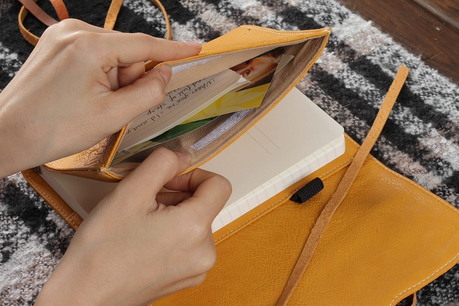 yellow leather journal diary with pocket engraved with oak leaves