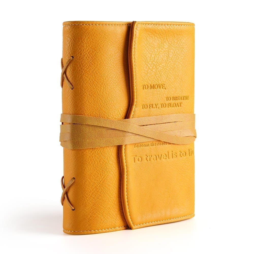yellow leather journal travel diary for women