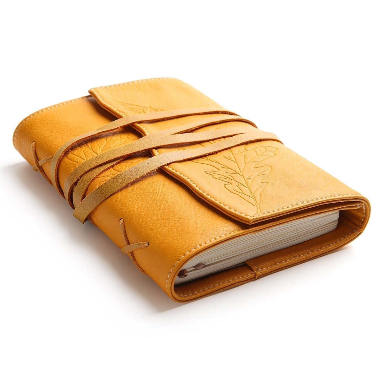 Oak Leaves B6 Vegan Leather Journal,Yellow | Embossed Notebook Diary