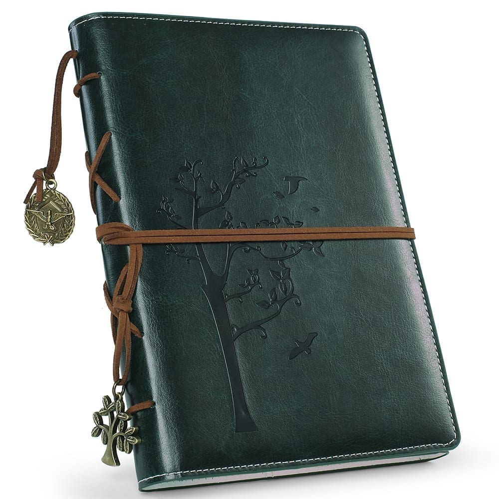 green color vegan leather journal-tree of life embossed