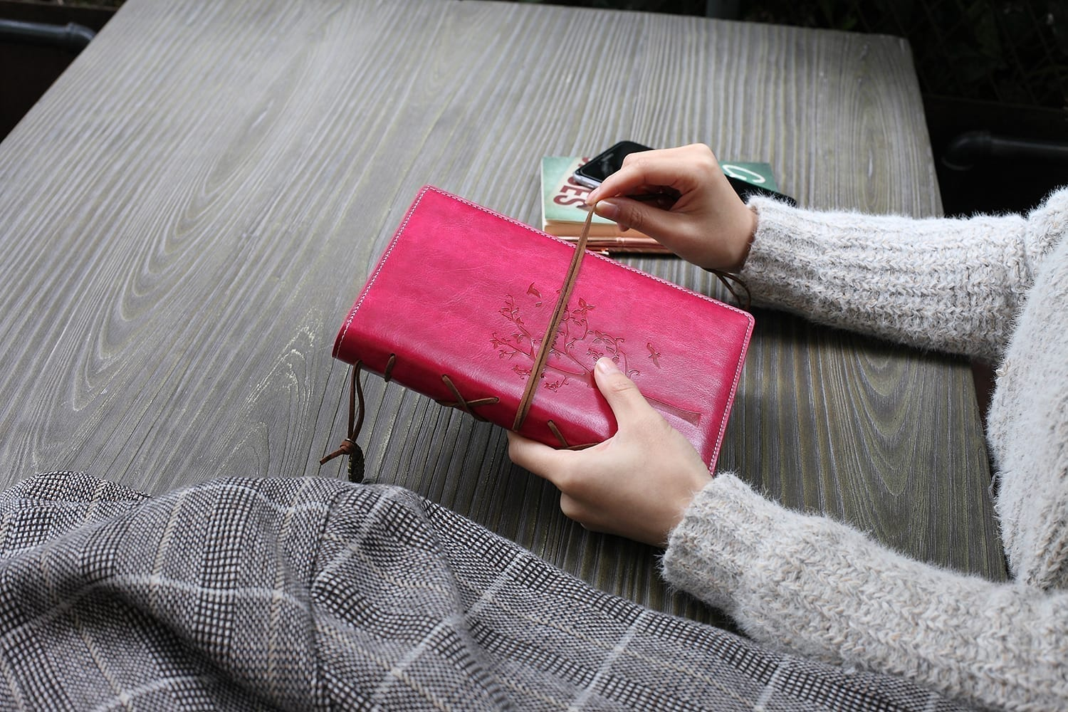 journal for women-rosy color vegan leather journal refillable