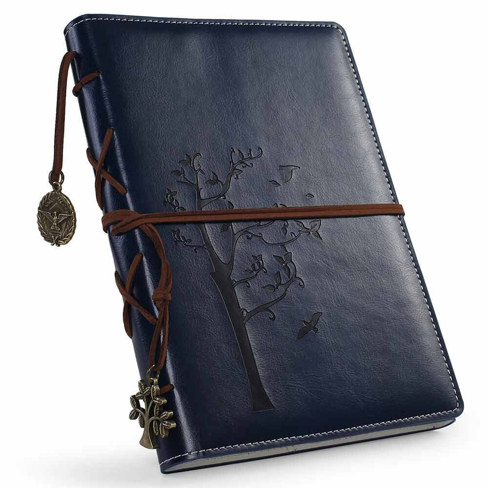 tree of life journal for men A5 navy blue lined